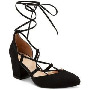 Mossimo Supply Co. Black Lace Up Short Block Heels